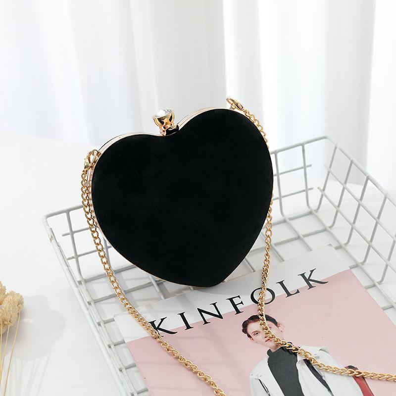 Дизайнер Вечерние сумки 2019 Новый мешок вечера цепи мешок плеча способа сумка Velvet Heart-Shaped сцепления All-Matching Курьер M180403