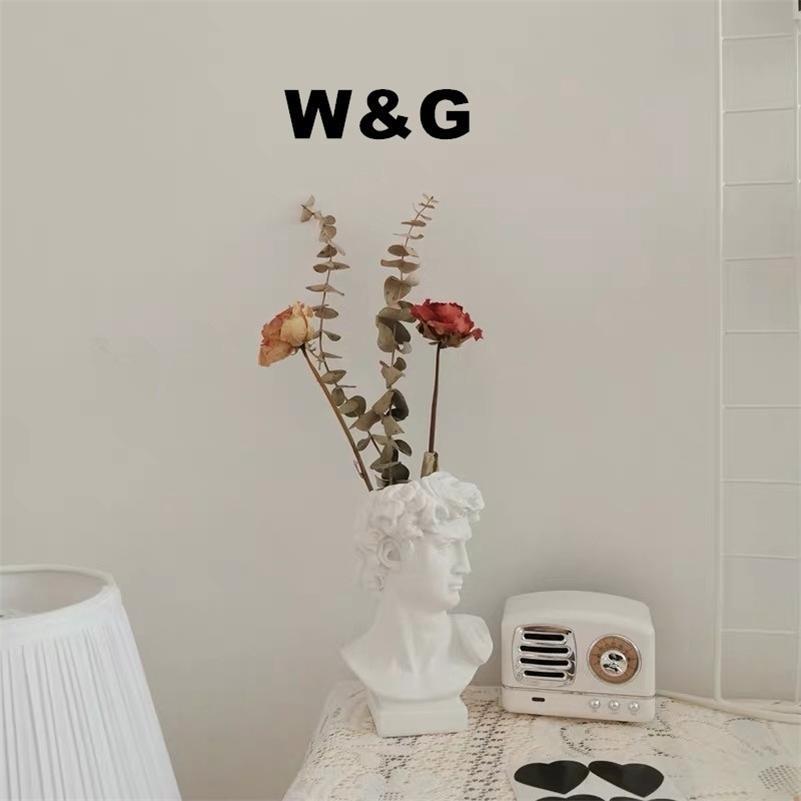 WG Современный северный стиль творческий портрет ваза человеческая голова цветок вазы декоративные украшения смола Дэвид дома цветы художественный декор LJ201209