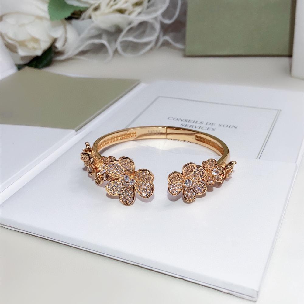 2020 New Hot Brand Pure 925 Sterling Silver Jewelry For Women Gold Clover Bracelet Praty Wedding Jewelry Gold Flower Cuff Bangle 1028