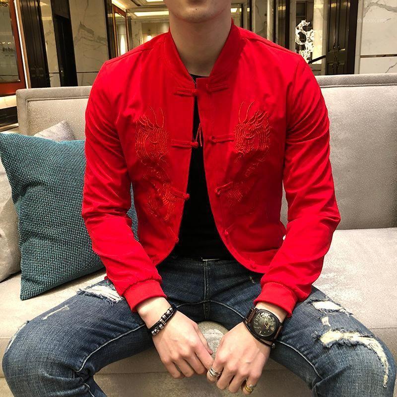 Vintage Bomber Jacket Chinês Estilo Festivo Slim Basebol Collar Casual Jaqueta Jaqueta Masculina Moda Men1
