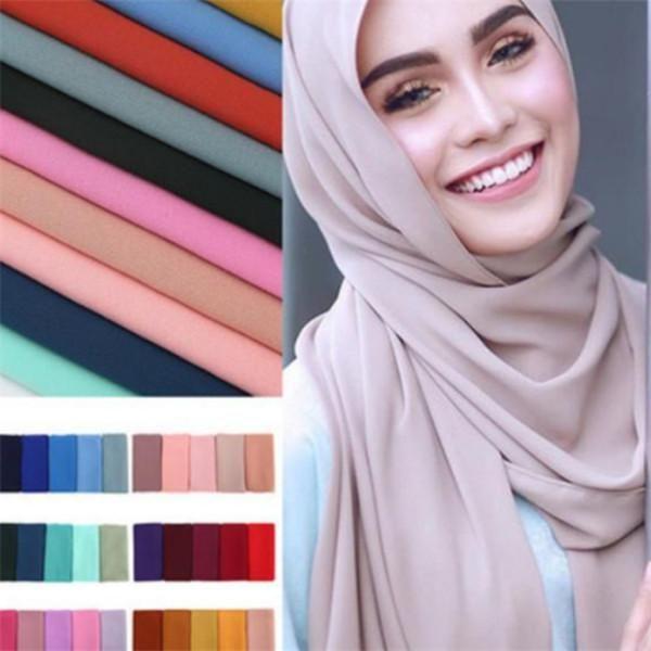 Sciarpa in chiffon in chiffon in chiffon a bolle di Hijab Wrap Scialle di colore solido Hijab Hijabs Sciarpe / sciarpa 47 colori