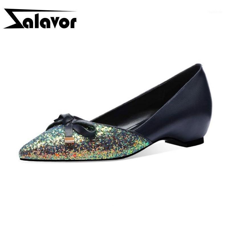 Zalavor Kadınlar Hakiki Deri Ofis Bayan Ayakkabı Pompaları Kadın Bling Sivri Burun Papyon Rahat Pompalar Ayakkabı Boyutu 33-401
