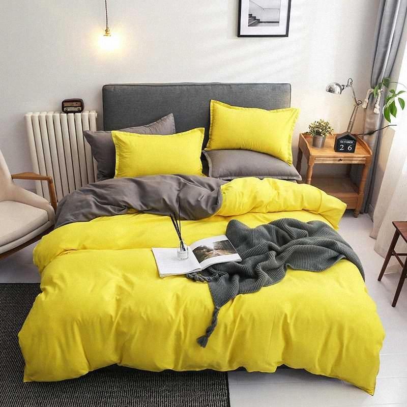 BEST.WENSD envío de la gota del sistema completo cómodo duvet cover set color sólido Ins Sábanas Púrpura Amarillo Gris Verde Naranja de cama floral nrZl #