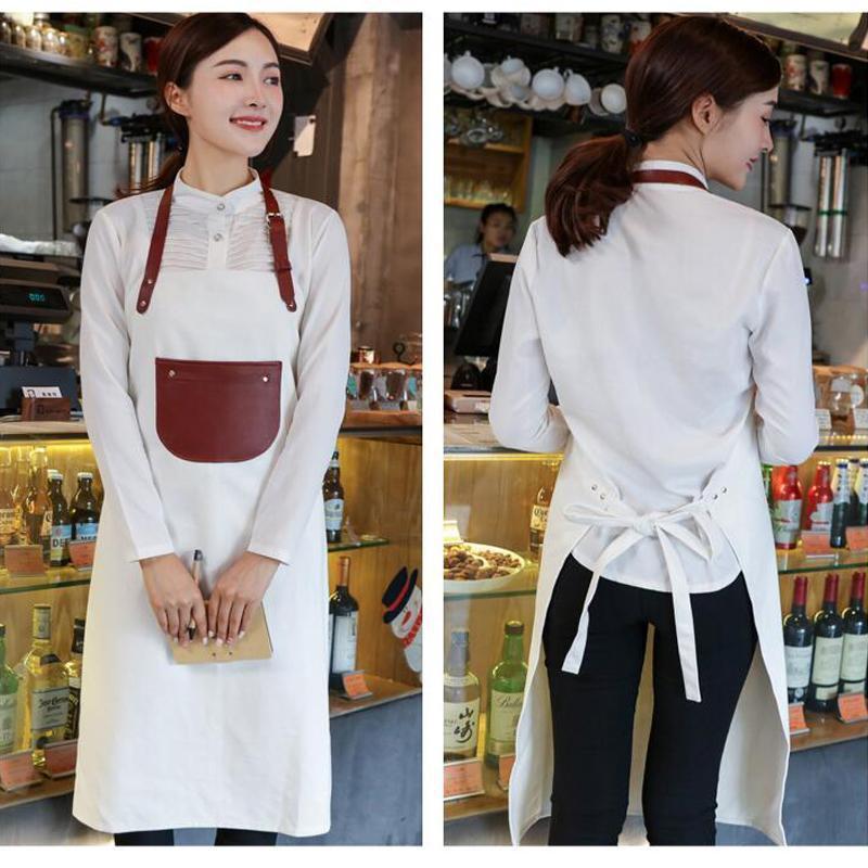 lona de couro engrossado avental do restaurante padeiros Coffee Shop macacões feitos sob medida