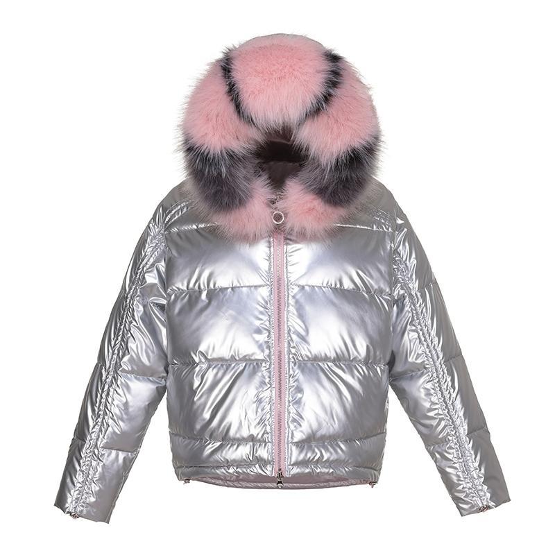 Giacca invernale Cappotti Donne Breve Giacca Giacca in cotone Giacca in cotone Parka Femminile Grande Collare in pelliccia Brillante lucido caldo Outwear 201203