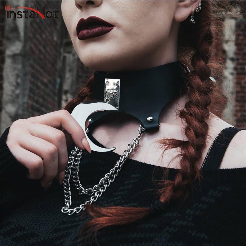 Andere sexy Punk Mond Gothic Dark Black Chocker Kette Halskette Frauen PU Lederkragen Necklakett Chaplet Metall Schmuck1