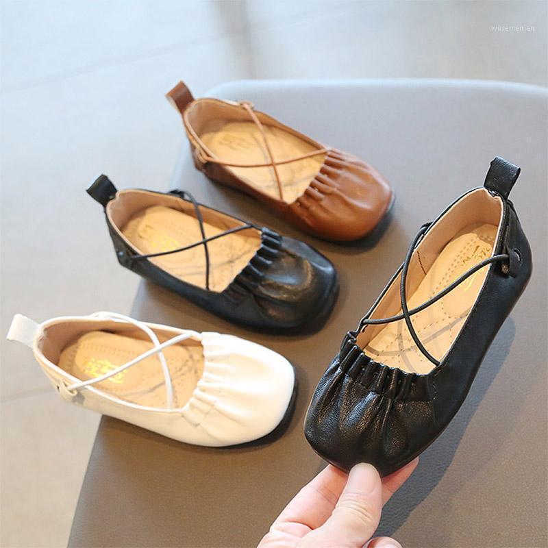 Primavera Outono Meninas Sapatos Cross-Tied Princess Shoes para Menina Crianças Bebê Couro Macio Barco Sapatos Crianças Ballet Flats ToDdlers1