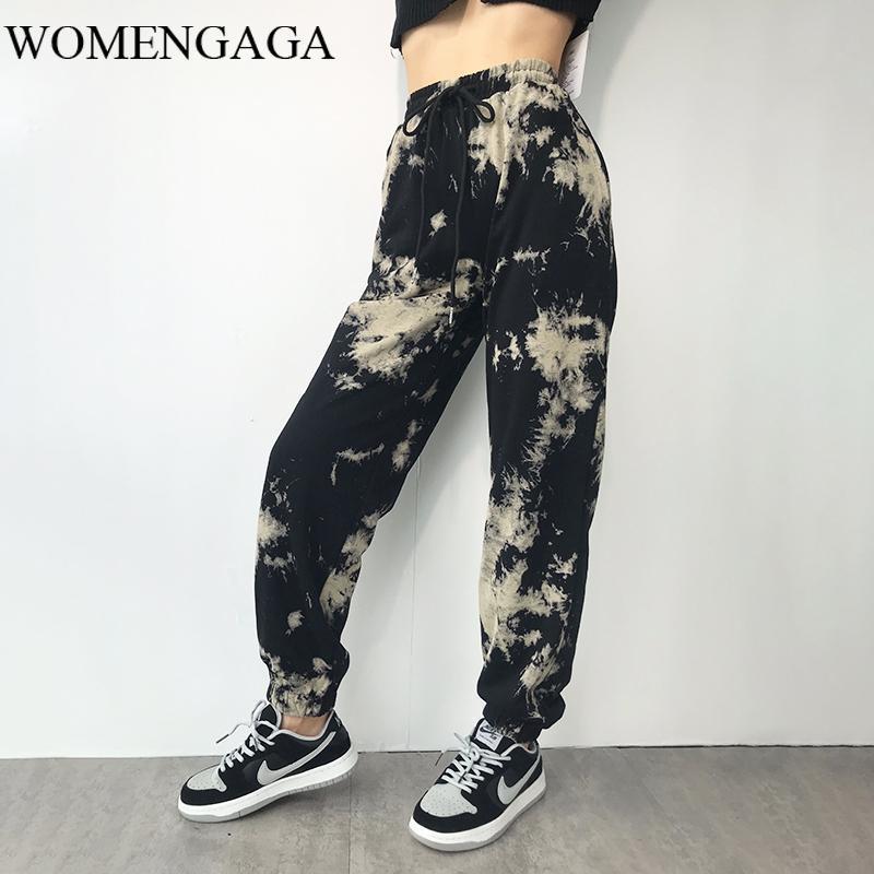 WOMENGAGA 2020 Sonbahar Kamuflaj Yüksek Bel Gevşek Zayıflama Düz paçalı Harem Pantolon Moda Spor Casual Pantolon 70EK