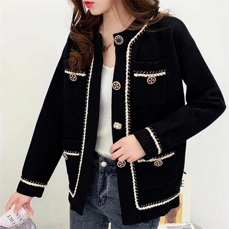 Zoki otoño mujeres abrigo fino manga larga botándose solo coreano suave moda botón de lana chaqueta blanca negro casual ropa de damas 201216