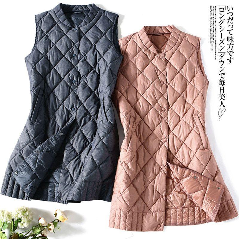 2019 New Sleeveless Waistcoat Coat Autumn Winter Women Ultra Light White Duck Vest Parka Female Midi Long Down Jacket Tops Plus Size
