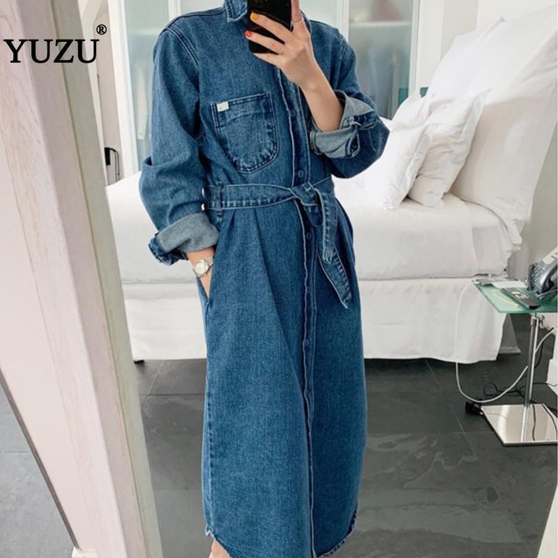 Vintage Oversized Denim Jacket Dress Blue Solid Maxi Loose Long Sleeve Pockets With Belt Turn-down Collar Winter Dresses 201008