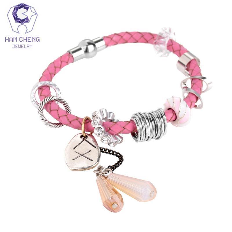 Hancheng Boho Handarbeit Leder-Seil-Charme-Armband Strass Kristallglas-Korn-Armband-Armbänder für Frauen-Schmucksachen