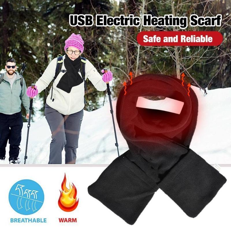 USB Aquecimento Scarf Mulheres Homens Thick Quente Aquecimento Pad Energia Elétrica aquecida Neck Warmer Scarf Para Outdoor Camping Caminhadas Andar de bicicleta