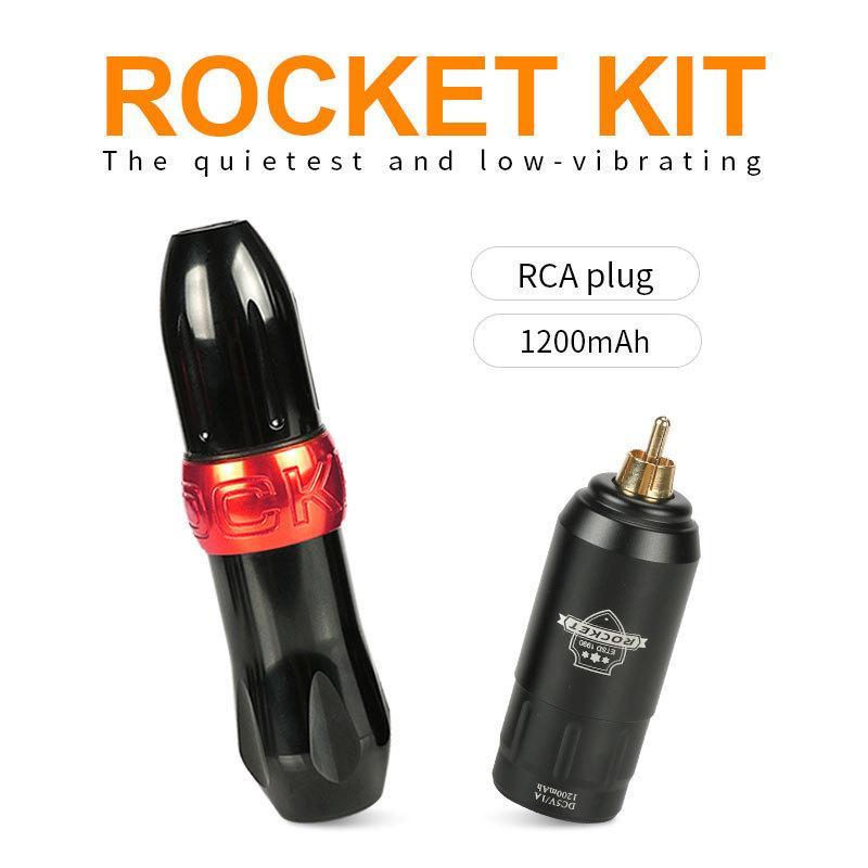 Komplette Tattoo-Maschinen-Kit Professionelles Set Rakete I Tattoo-Stift mit Mini-Wireless-einstellbarer Netzteil RCA-Anschluss 201112