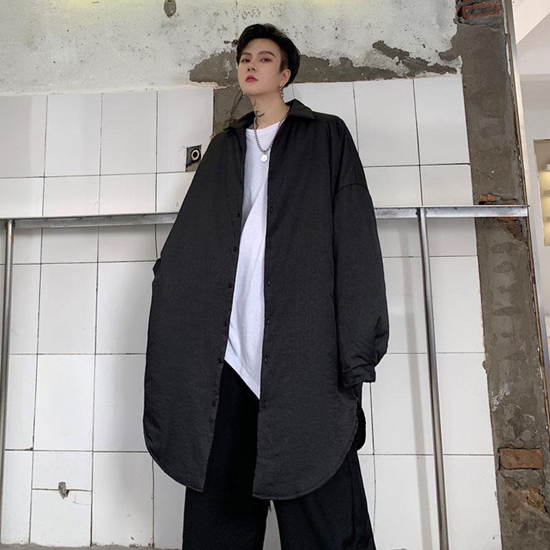 Hommes surdimensionné à manches longues vapores décontractées coton épais chemise rembourrée chemise mâle vintage streetwear hip hip chemise hip chemise vêtement d'extérieur
