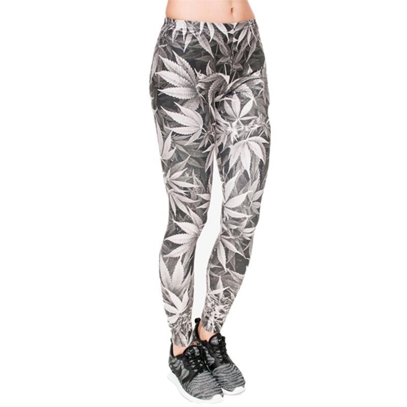 Alta Qualidade Leggings Mulheres Folhas Cinzentas Impressão Fitness Legging Sexy Silm Fit Legins Cintura Alta Cintura Calças Mulheres Y200904