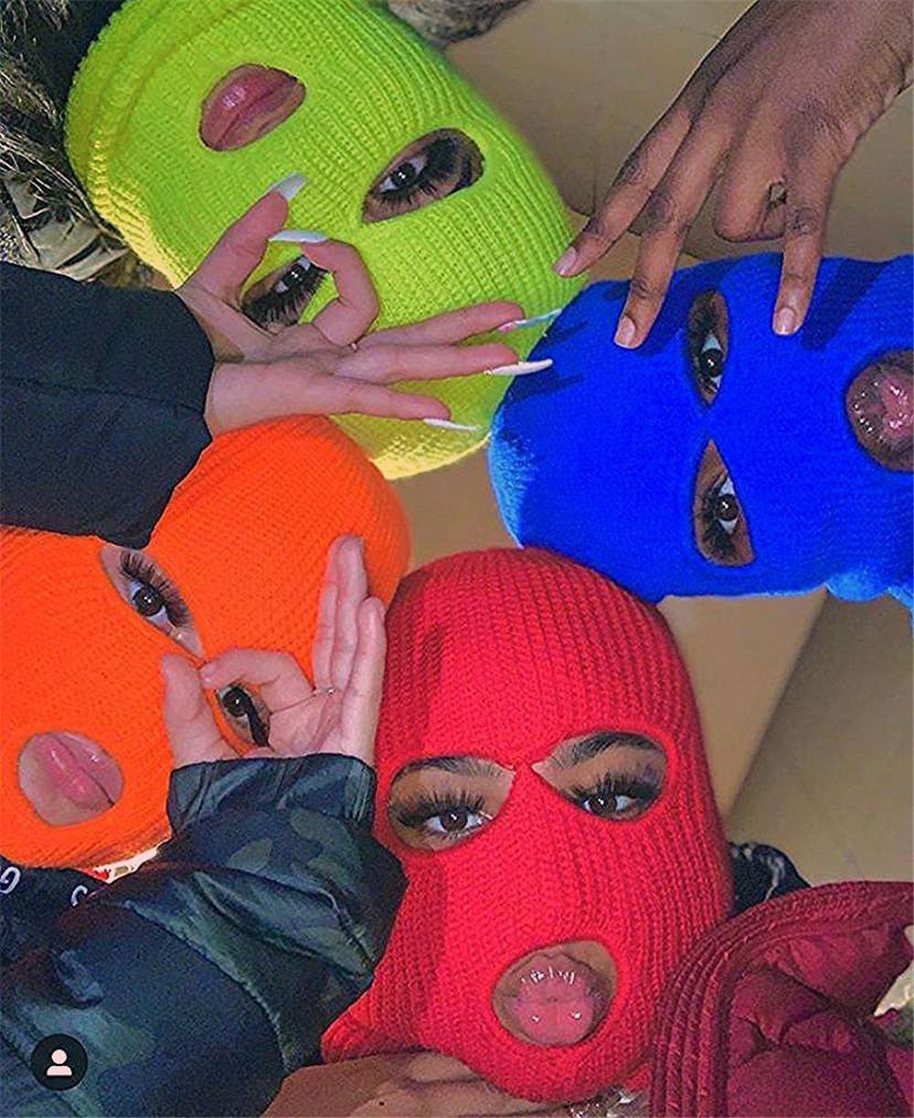 Полная маска для лица 3 отверстия вязаная шляпа тактическая зимняя лыжа велосипедная маска шансы шляпа