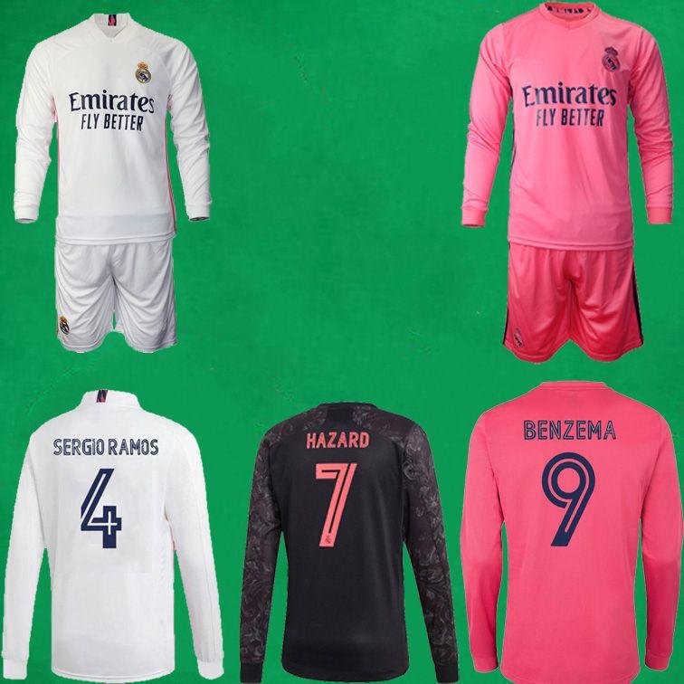 20 21 Real Madrid Juego de la manga de manga larga camiseta de fútbol 2020 2021 PELIGRO BENZEMA camiseta de fútbol RONALDO VINICIUS completa Fútbol Hombres conjunto de fútbol