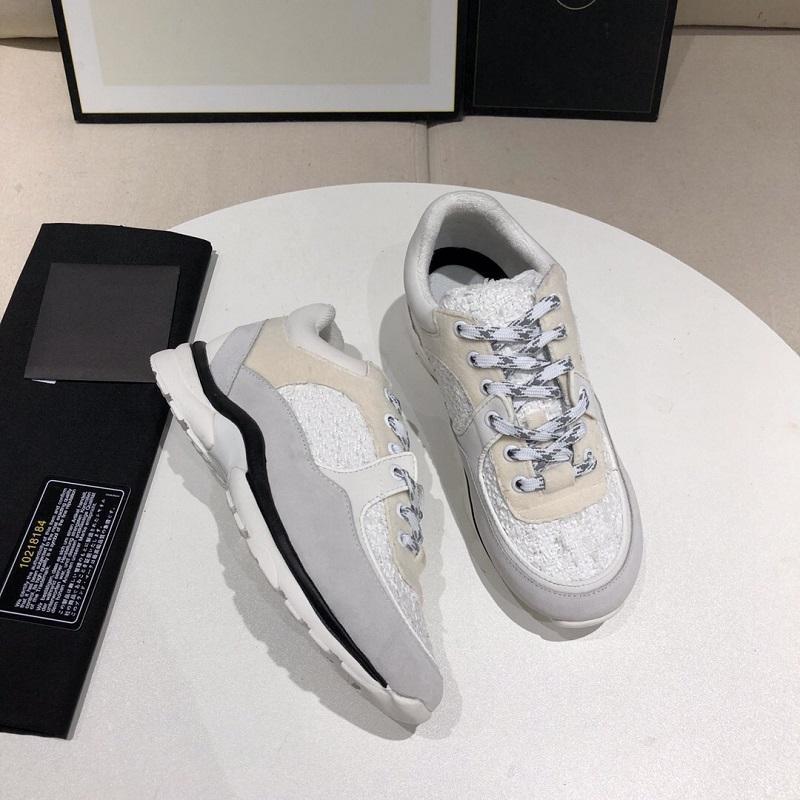 2020 Designer Calfskin Reflective Sneaker Femmes Noir Plate-forme Chaussures Hommes Vintage Basket Basket Baskets Véritable Entraîneurs de Cuir avec Box US5-11