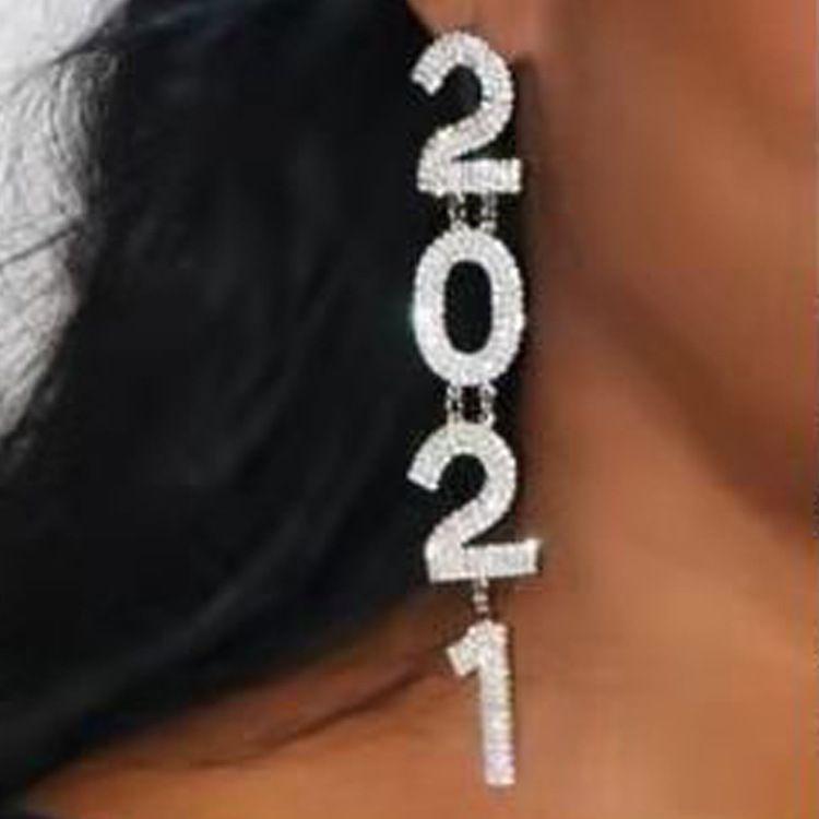 Новый Серебряный Золотой Блестящий Diamond Набор Популярные Серьги Полный Diamond 2021 Цифровые Серьги Мода Аксессуары Бесплатная Доставка