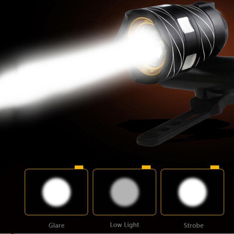 أضواء الدراجات USB قابلة للشحن T6 الصمام دراجة ضوء مصباح الأمامي في الهواء الطلق زوومبلي الشعلة المصباح المدمج في البطارية 300LM