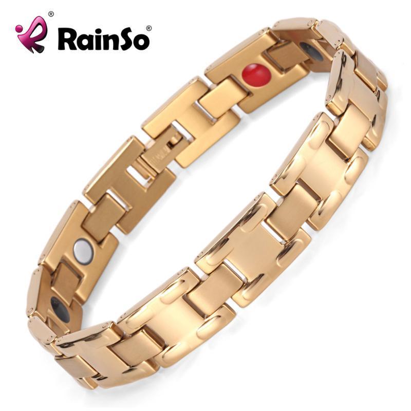 Joyería para hombre vendedor caliente de 4 Salud Medio oro del acero inoxidable de la manera / Negro magnética pulsera de la pulsera de OSB-1552G