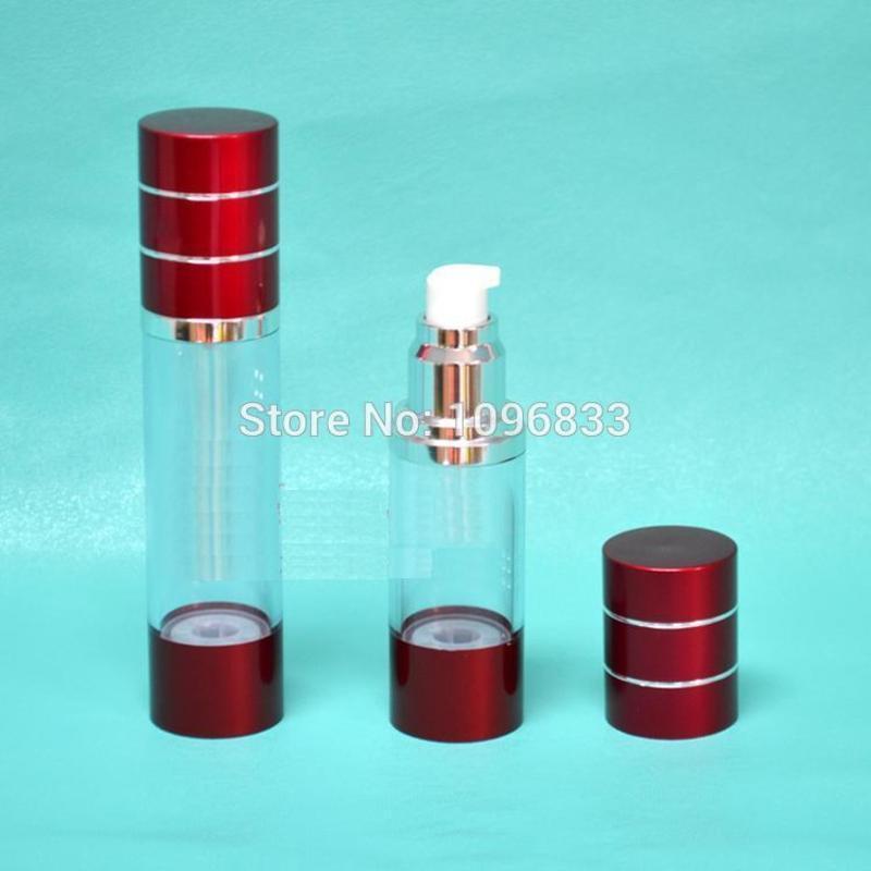 30ML del color rojo frasco dosificador, 30G bomba cosméticos Loción Esencia botellas de embalaje, 35pcs / Lot Vaccum