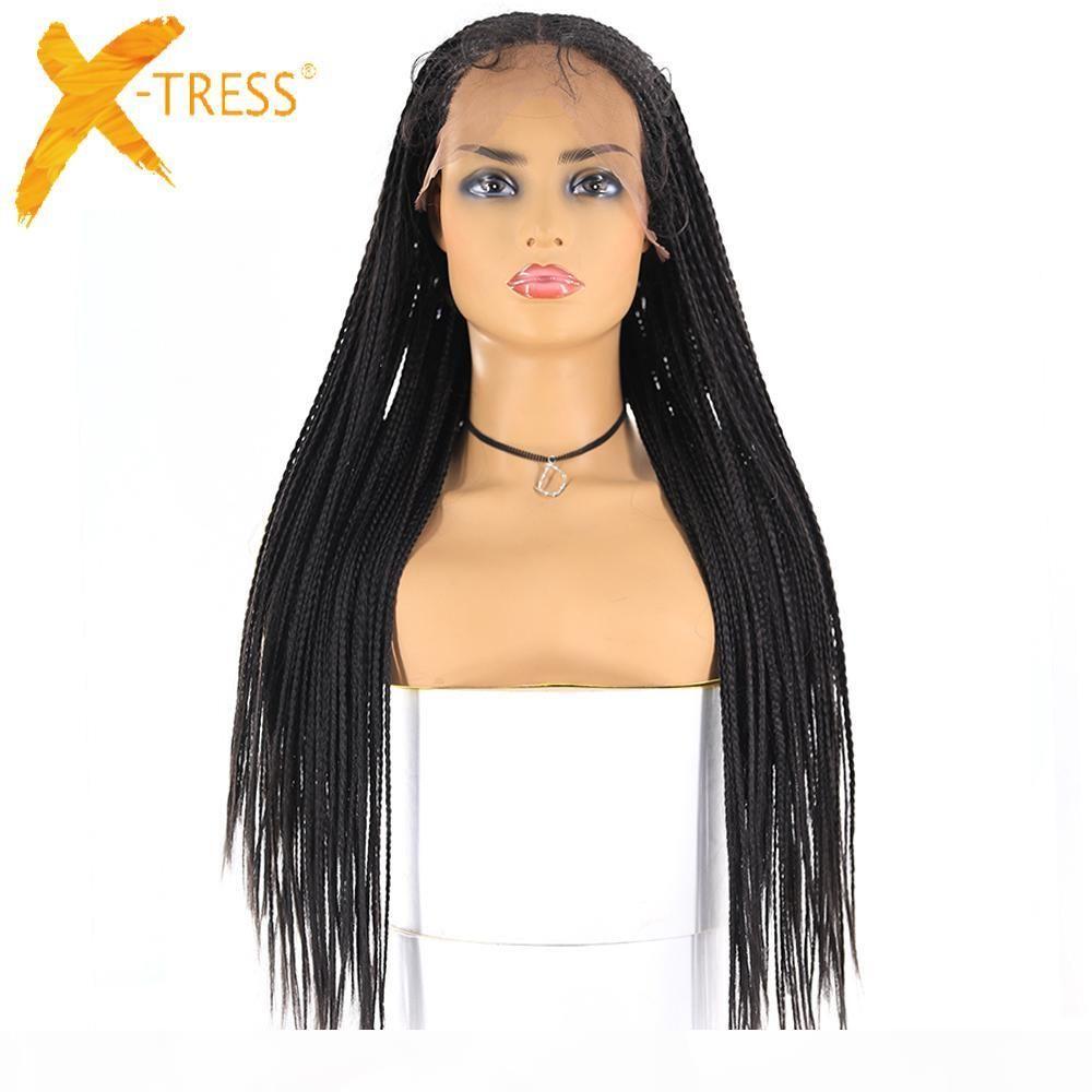 13x6 Frente de encaje Frente Sintético Pelucas trenzadas X-Tress Largo Caja de maíz Braid Faux Loces WIG Afroamericano Mujeres Peinado Pieza central