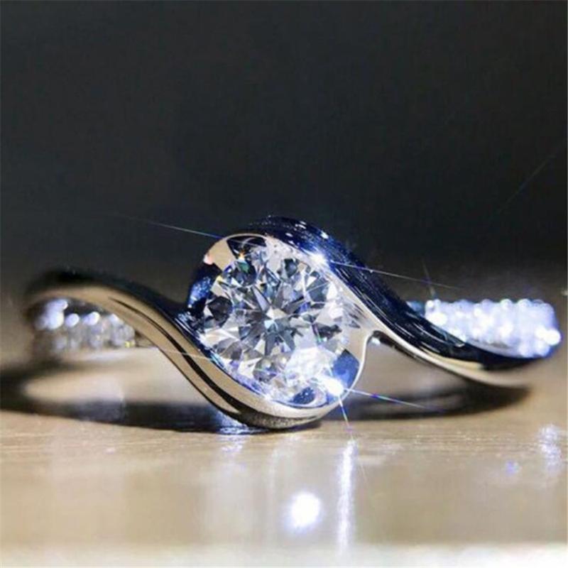 Exquisite fashion temperament shiny zircon ladies engagement wedding ring romantic wedding jewelry accessories gift wholesale
