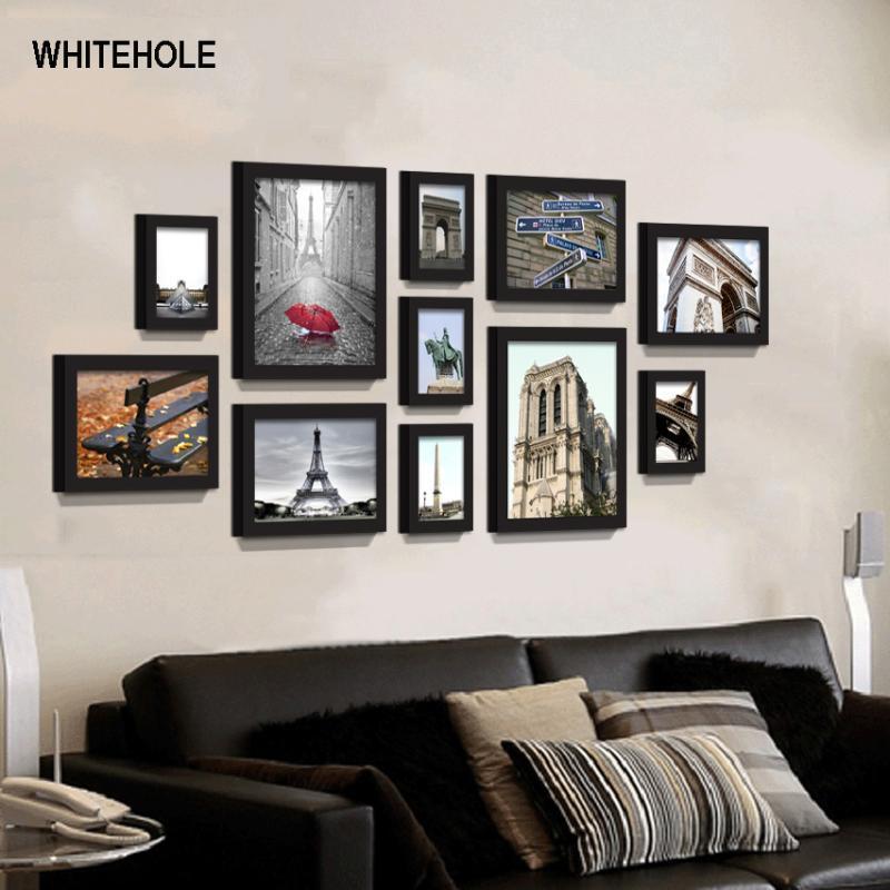 11pcs / Set Wood Frame Wall Hanging Photo Frame Para Corredor Quarto Sala Home Decor Sweet Home Para Pictures