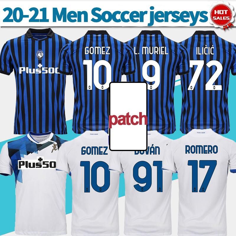 2021 atalanta b.c. كرة القدم جيرسي # 10 Gomez # 72 ilicic 20/21 رجل كرة قدم قميص منزل أزرق أبيض أبيض مخصص لكرة القدم الزي الرسمي