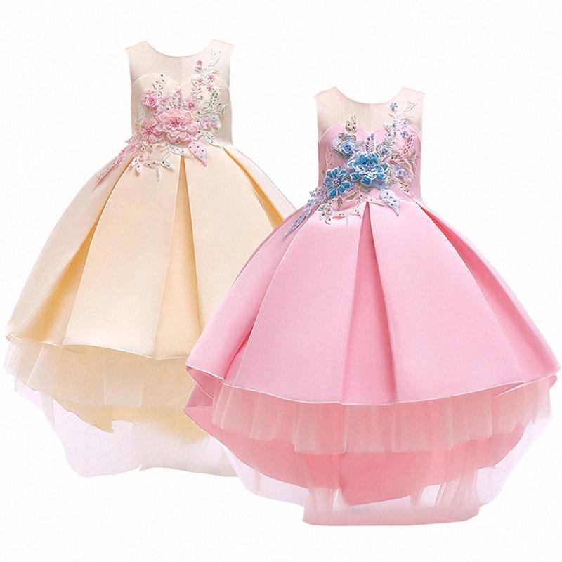 Neonata copre 3 colori Moda ricamato abito da principessa del vestito dalle ragazze del partito di alta qualità formale costume regalo di compleanno Jwze #