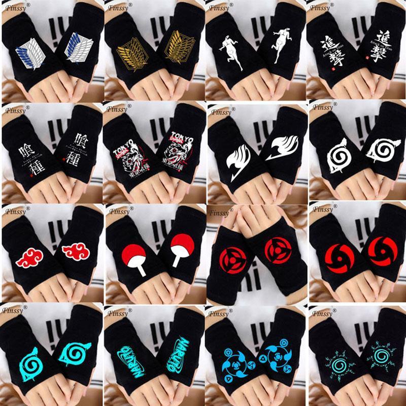Half Finger Warm Strickhandschuhe Cosplay Anime Naruto Akatsuki Kimetsu Kein Yaiba Angriff auf Titan Armschienen Handgelenk Handschuhe für Erwachsene