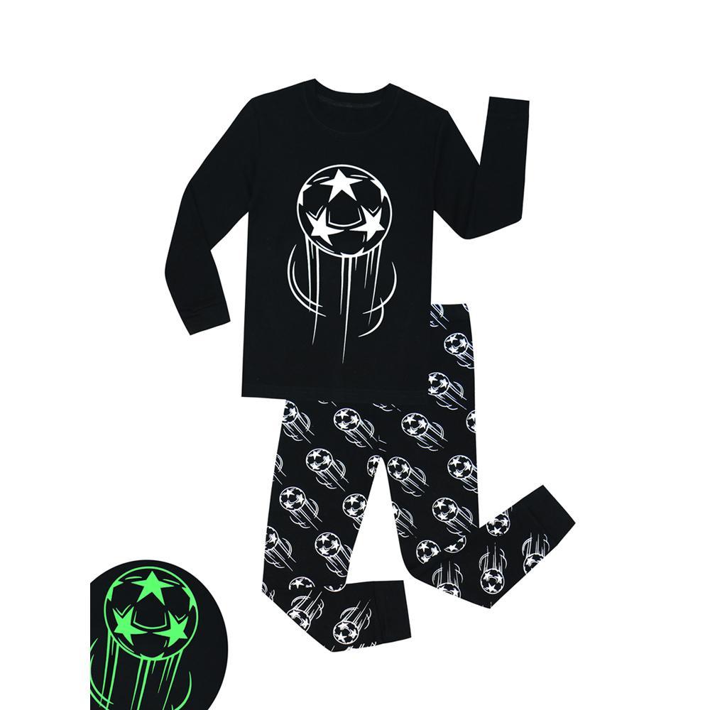 Latest Children Long Sleeve Glow in the Dark Football Pajamas Sets Kids Pajamas Boys Pajamas Pyjamas Kids Pijama nino 201225