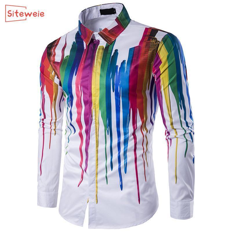 SITEWEIE Erkek Düğme Yukarı Gömlek Uzun Kollu Slim Fit Erkekler Lüks Gömlek Streetwear Sosyal Gömlekler Erkek modası Camisa G426