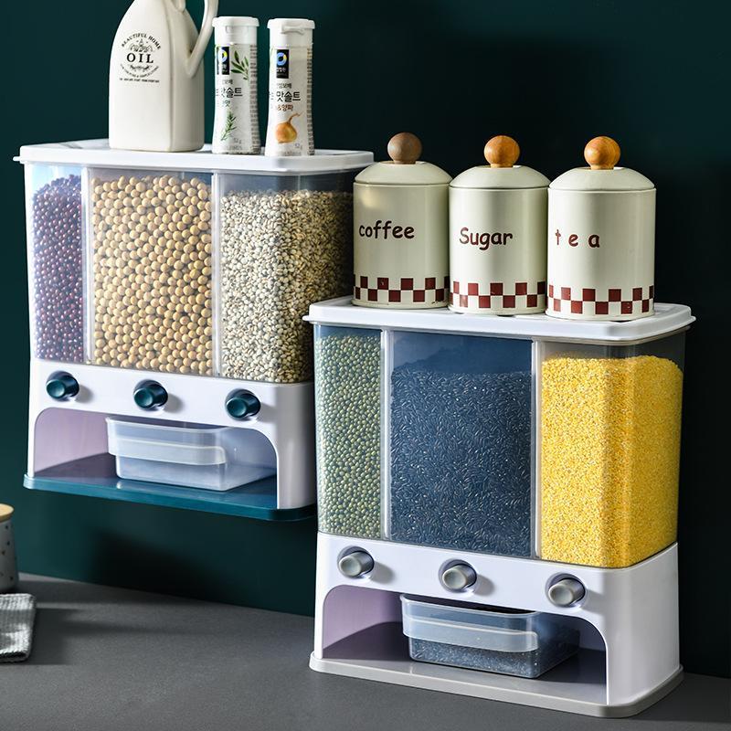 زجاجات تخزين الجرار مربع البلاستيك حاوية واضحة الحاويات الخيالة على الحطب للحبوب كاملة المطبخ 5.5L