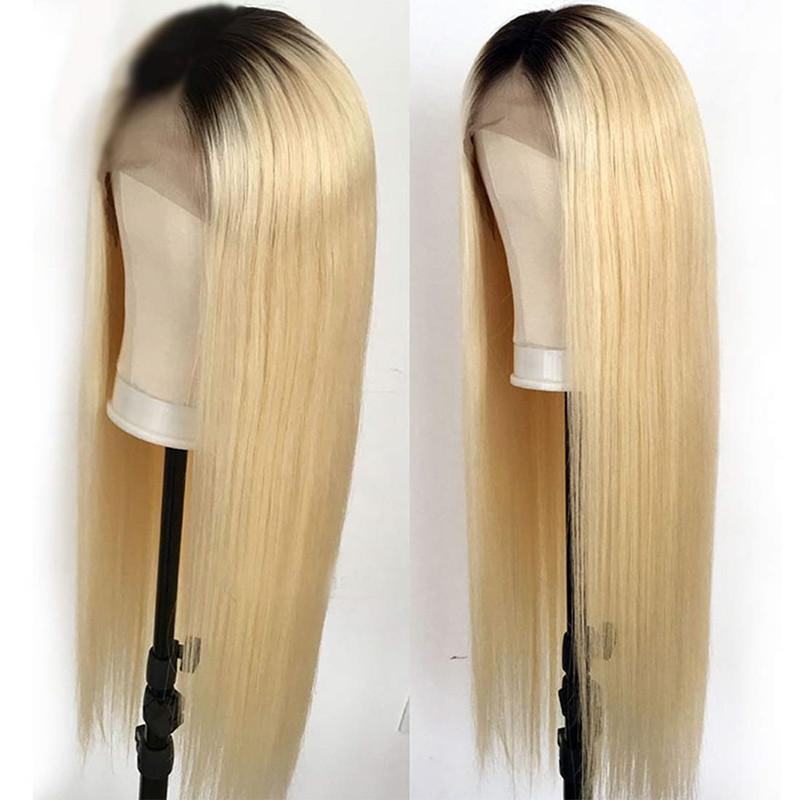 Sedoso Ombre color T1B / 613 frente del cordón de Remy brasileño del pelo pelucas de pelo humano para las mujeres Negro Medio mano atada a 16-24 ''