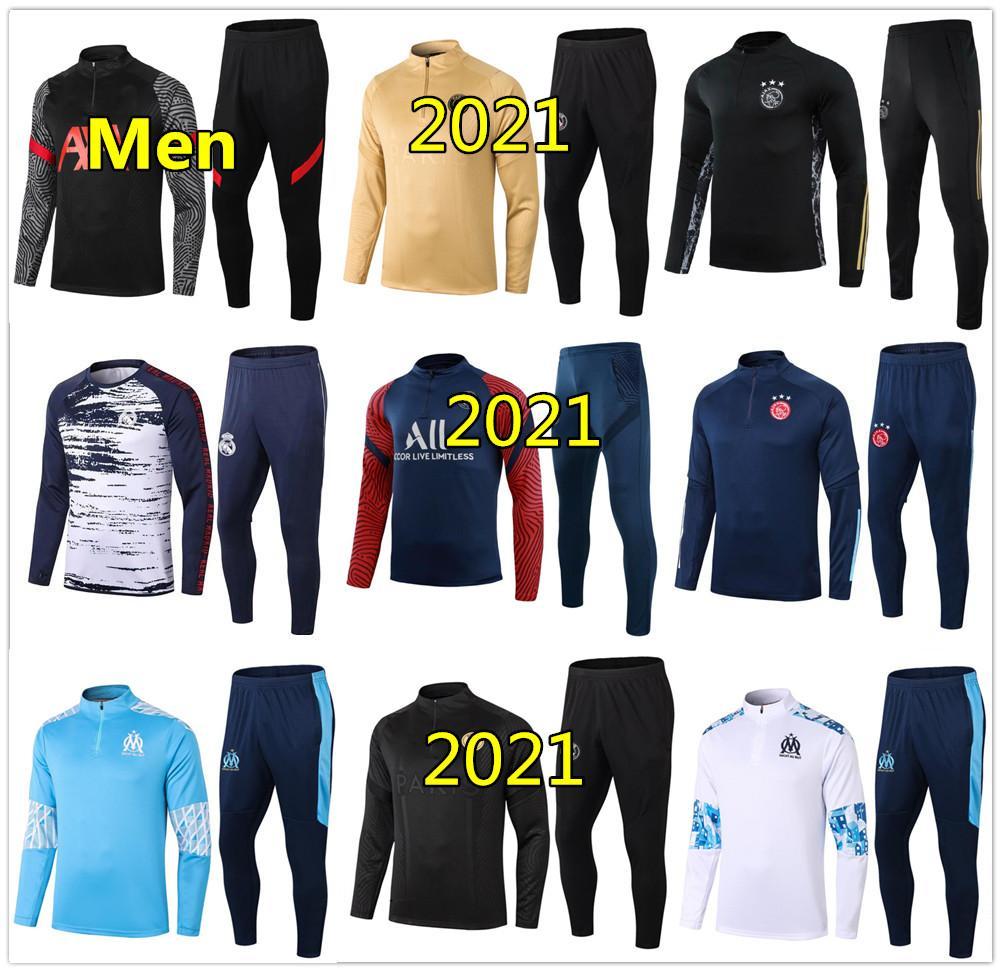 20 21 Marsilya Erkekler futbol antrenman eşofman Real Madrid futbol antrenman takım elbise 2020 2021 Paris MBAPPE survetement de ayak chándal koşu