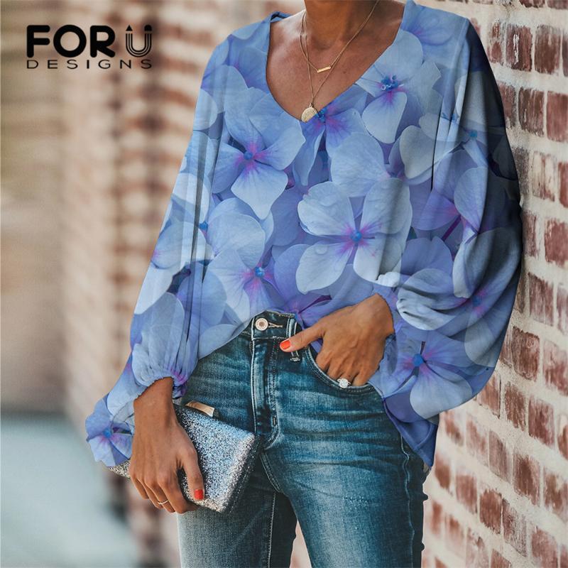 FORUDESIGNS женщины Моды шифон Одежда Гортензия Лепесток печать Повседневный длинный рукав для дадут Женской сексуальной свободной блузы