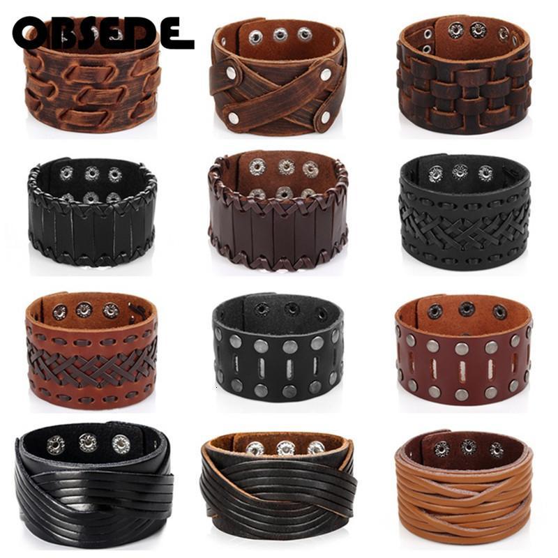 Obsede Мода натуральная кожа браслет для мужчин Браун Широкий манжета браслеты браслет браслет Vintage Панк Мужской подарок ювелирных изделий