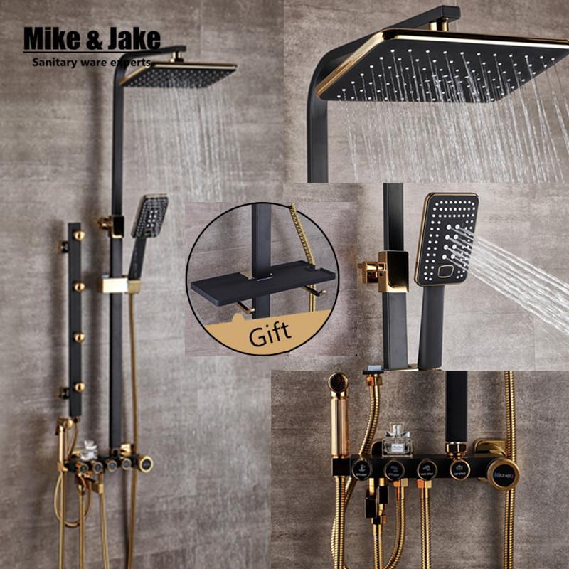 Luxus schwarz Goldener Bidet mit Regal Gold Satz Badezimmer Dusche Badewanne Wasserhahn Sets 1011