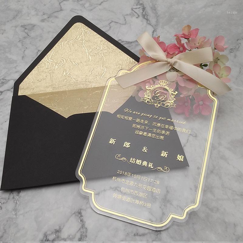 40pcs lot personalizado acrílico invitación tarjeta aniversario cumpleaños boda boda boda ducha bridal baby cumpleaños tarjetas de invitación 1