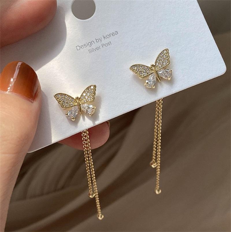 Butterfly nappe donna orecchino pendenti nappa argento ago orecchini estate stile lunghi orecchini gioielli accessori moda 2 2LXA O2