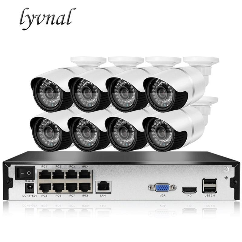 Lyvnal H.265 8CH 1080P Cámara IP Poe Kit 48V 2MP Al aire libre Video a prueba de intemperie Video Video Cámara de vigilancia 8ch Poe NVR Kit 2TB HDD