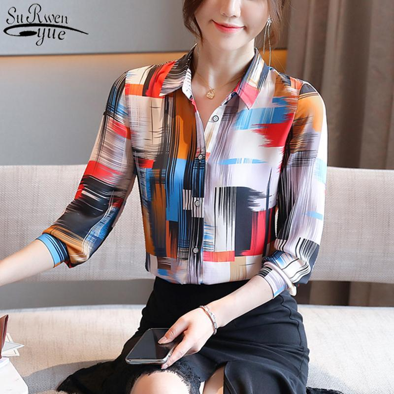 Blusas de mujer Camisas 2021 Otoño elegante floral blusa blusa moda elegante chifho manga larga camisa tops blusas 10893