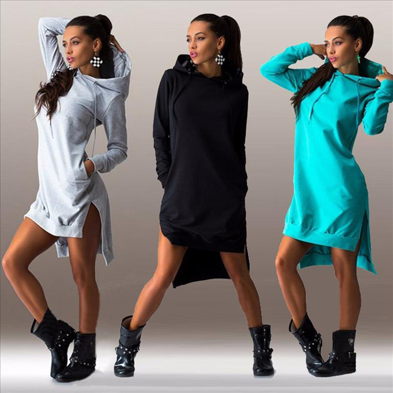 Frauen-Kleid Hoodies Herbst Sport-beiläufige lange Hülsen-Split-Sweatshirt mit Kapuze Kleid Frauen Kleidung Lässige Plus Size