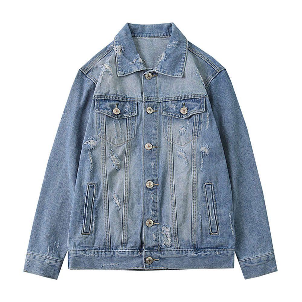 Новый стиль Water Wash Pure Pure Color Street Jeans кардиган пальто высококачественная мужская куртка