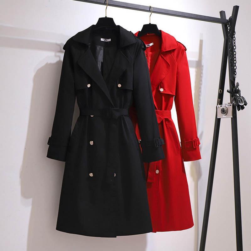 Otoño Trench Coat Mujeres más tamaño Busto 153 cm 6xl 7xl 8xl 9xl 10xl traje collar de largo trinchera abrigo mujer negro rojo colores