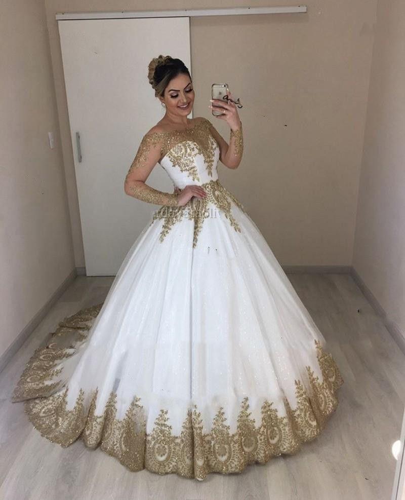 Lüks Altın Dantel Aplike Düğün Prenses Elbiseler Uzun Kollu 2021 Köpüklü Şapel Tren Vestidos Novia Siren Gelin Kıyafeti