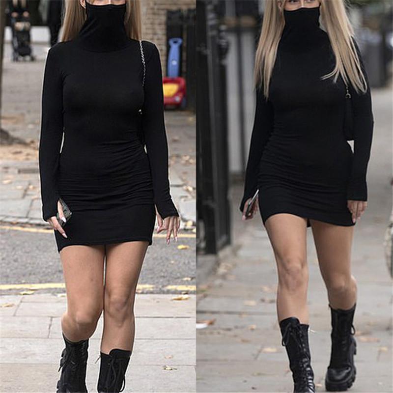 2020 Sonbahar Sıcak Moda İnce Uzun Kollu Katı Siyah Kadın Elbise ile Yüz Boyun Kısa Kısa BODYCON Sokak Elbiseler VestidosA1110 Maske